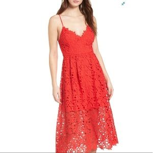 ASTR the Label™ Red Lace A-Line Midi Dress